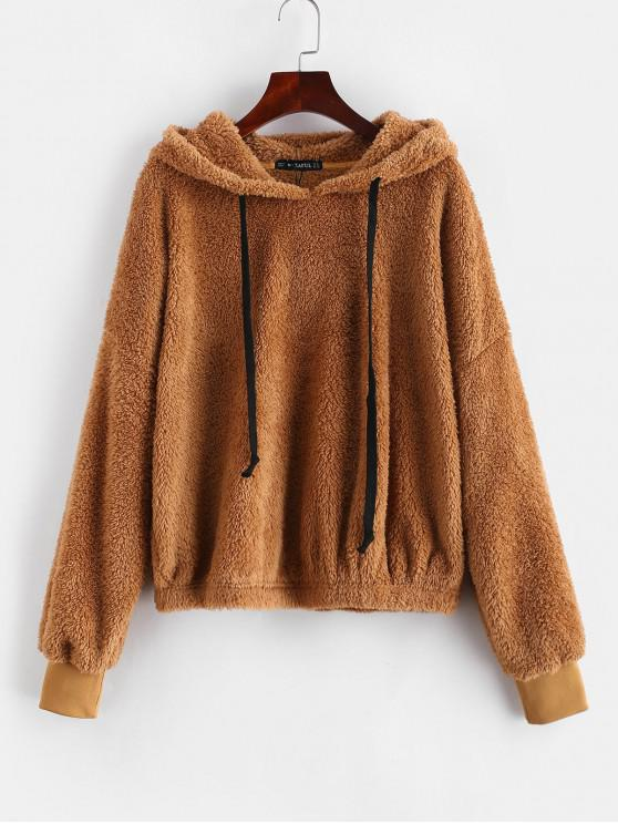 new ZAFUL Oversized Fleece Pullover Hoodie - LIGHT BROWN L
