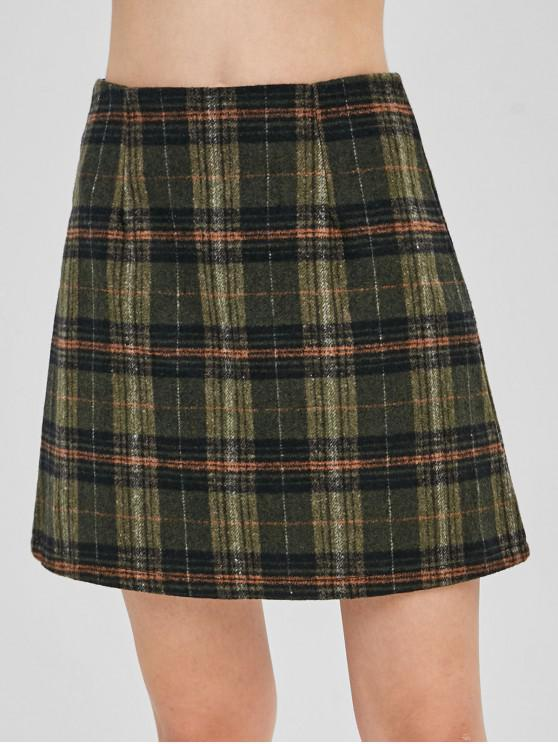 chic Back Zipper Plaid Wool Blend Skirt - MULTI M