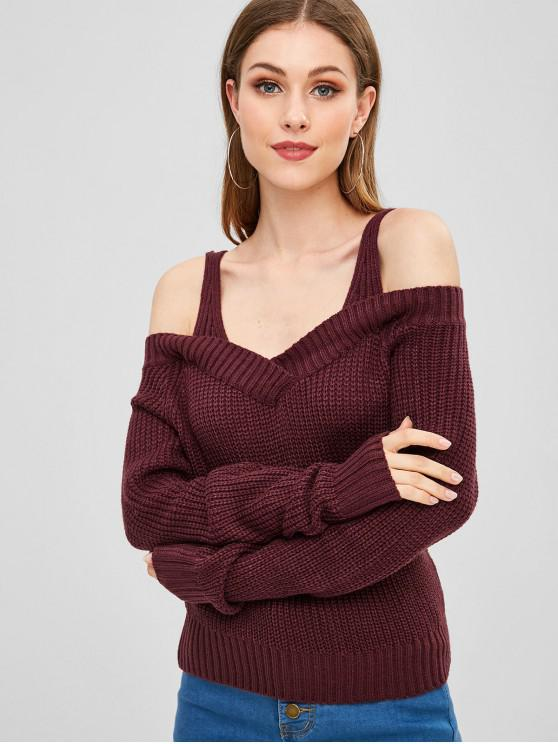 outfit V Neck Cold Shoulder Sweater - RED WINE ONE SIZE