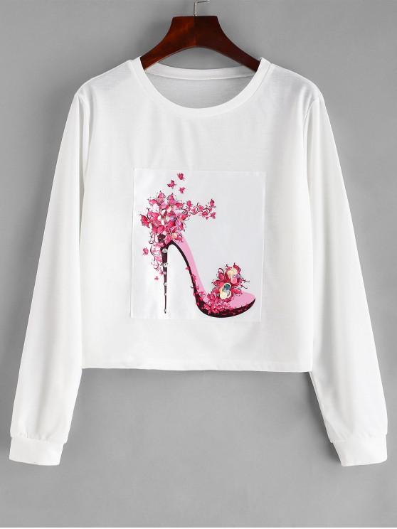 fancy Embellished Heel Graphic Cropped Sweatshirt - WHITE M