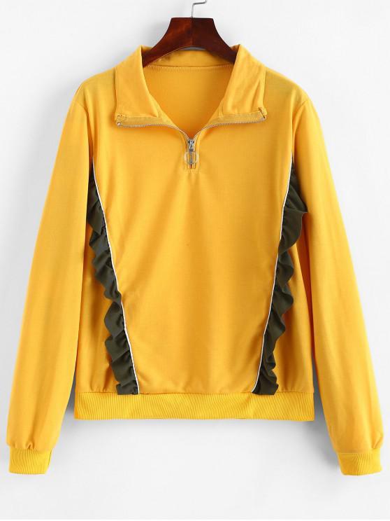 fashion Ruffled Quarter Zip  Pullover Sweatshirt - BEE YELLOW L