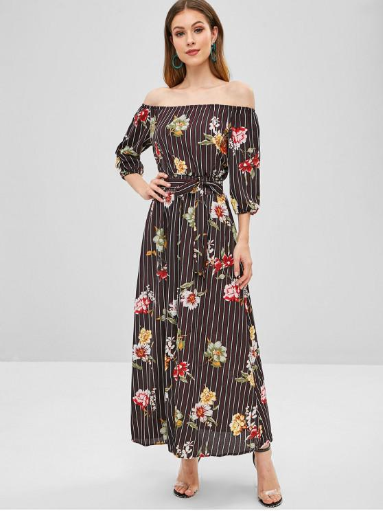 women Floral Stripes Slit Off Shoulder Dress - MULTI M