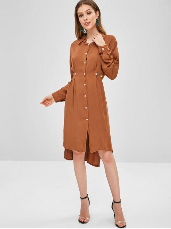 womens Casual High Low Slit Shirt Dress - LIGHT BROWN XL
