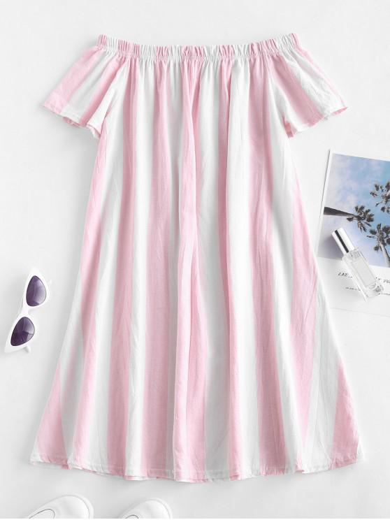 lady Striped Off The Shoulder Mini Dress - PIG PINK S