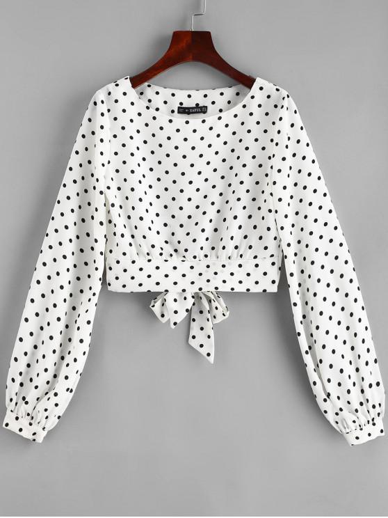 ZAFUL Dots Knotted Cropped Blouse - حليب ابيض M