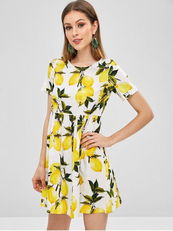 Mini Vestido Estampado Limones Mangas Con De Abullonadas CodxBe