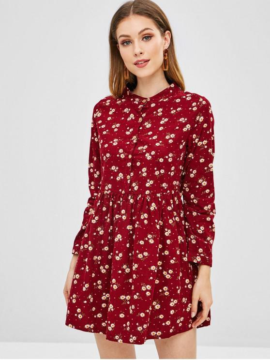 Botão de estampa floral metade vestido queimado - Vermelho S