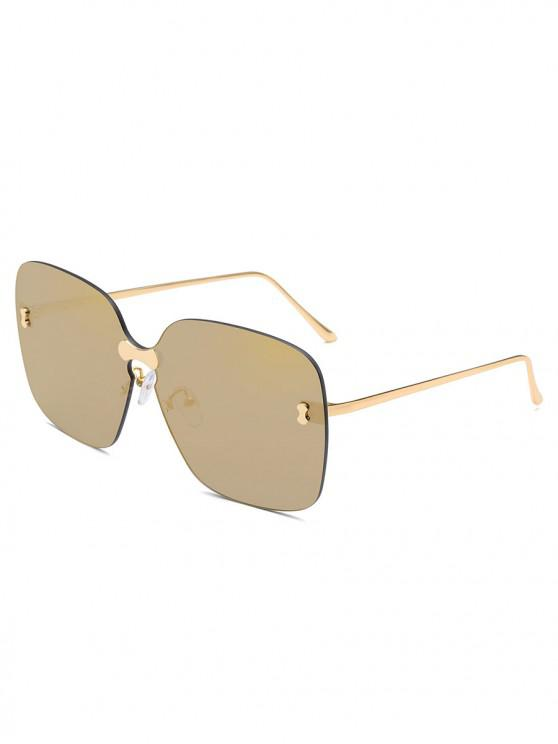 chic Metal Glasses Temple Square Lens Sunglasses - CHAMPAGNE GOLD