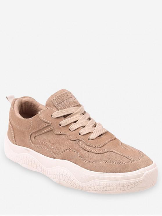 trendy Fur Lined Lacing Casual Sneakers - LIGHT KHAKI EU 38
