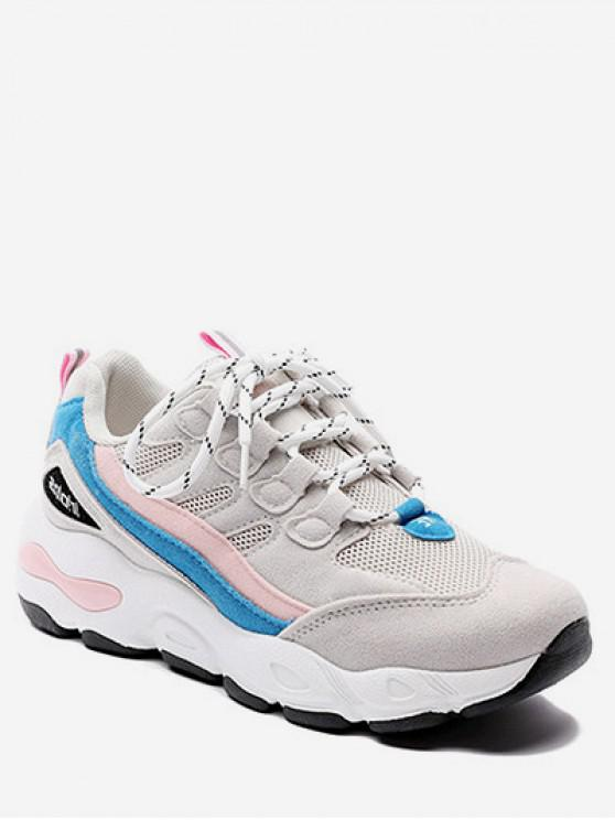 outfit Color Block Mesh Trim Platform Sneakers - LIGHT PINK EU 35