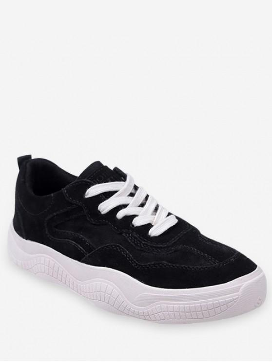 sale Fur Lined Lacing Casual Sneakers - BLACK EU 37