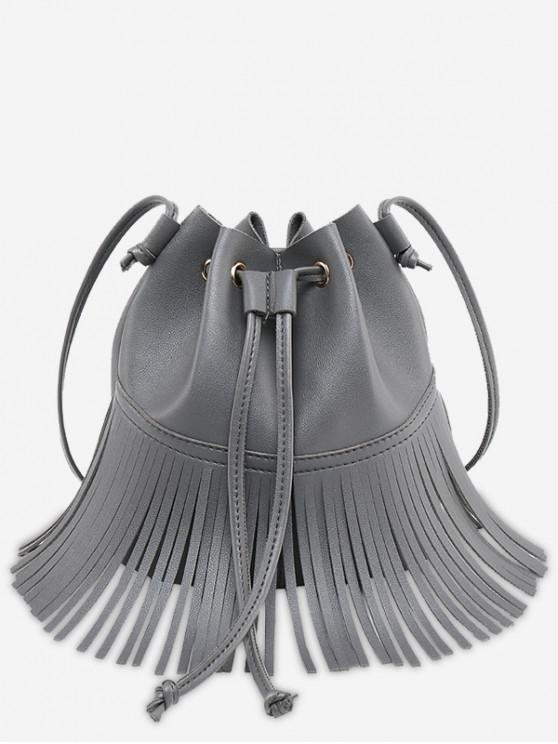 new Crossbody Drawstring Fringe Bucket Bag - GRAY