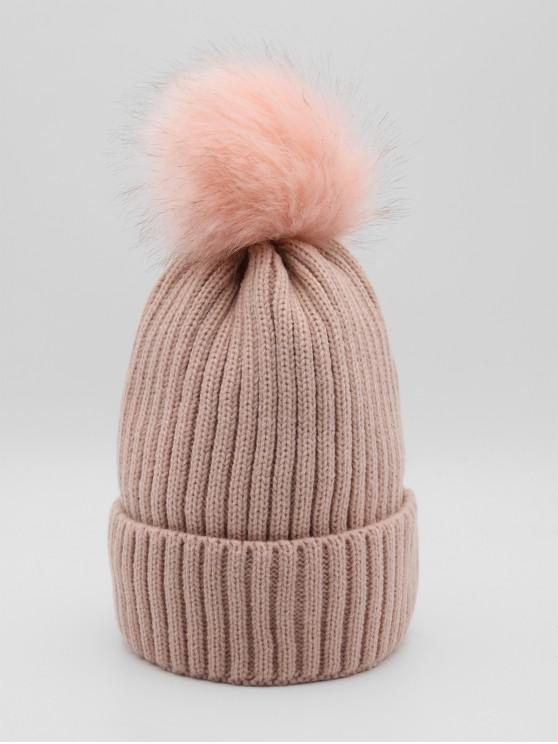 womens Fuzzy Ball Design Winter Knitted Hat - PINK