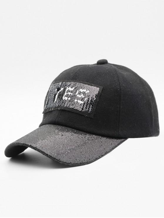 b1948df1248c8 17% OFF  2019 Sequins Decoration Letter Design Baseball Hat In BLACK ...