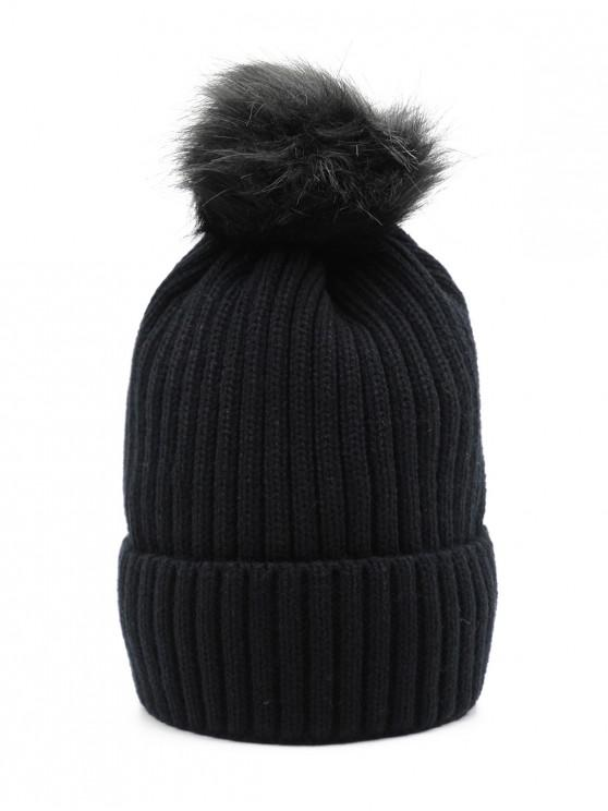 f630f71fca8 2019 Fuzzy Ball Design Winter Knitted Hat In BLACK