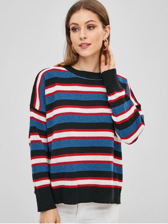 women's Oversized Striped Pullover Sweater - MULTI ONE SIZE