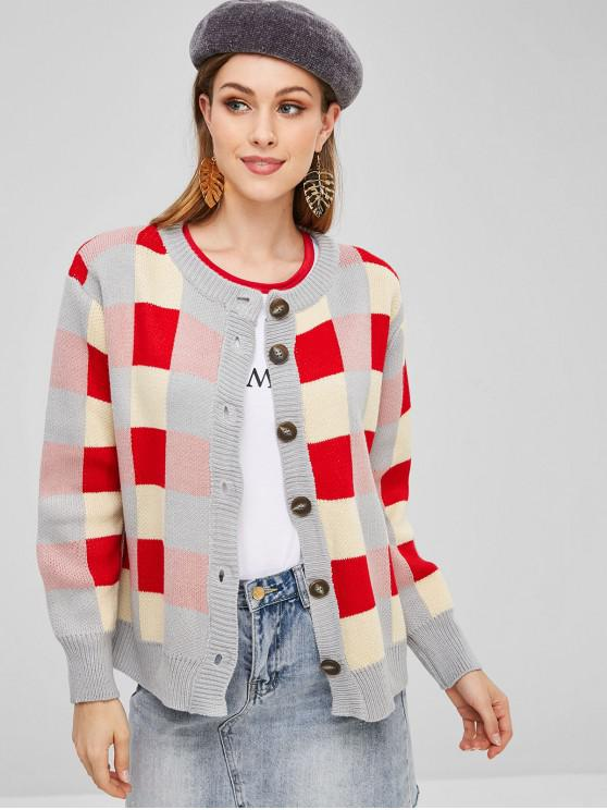 women Checkered Button Up Cardigan - MULTI ONE SIZE