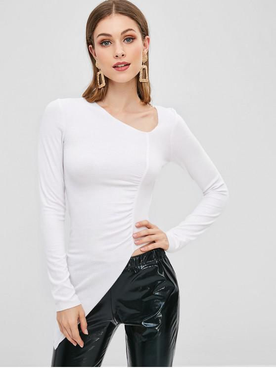 outfits Ribbed Gathered Asymmetrical Top - WHITE S