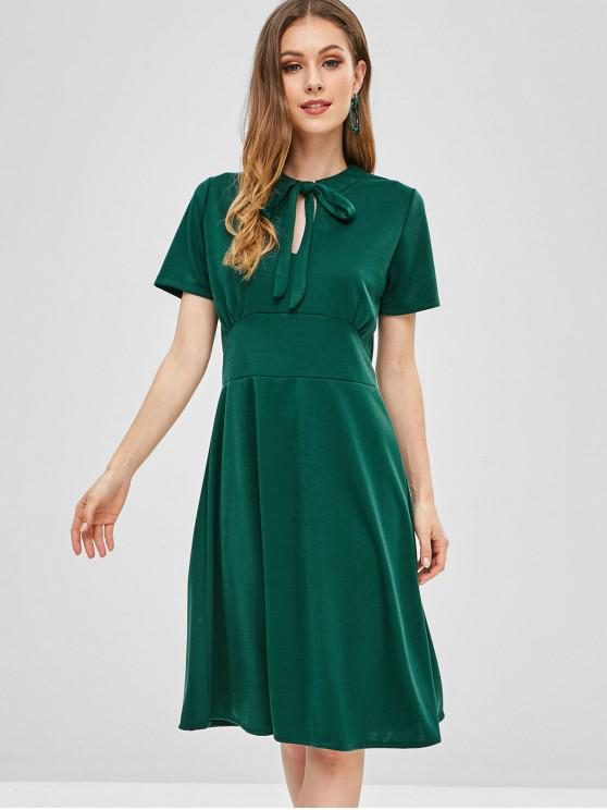 outfit Keyhole Bow Tie A Line Dress - GREEN M