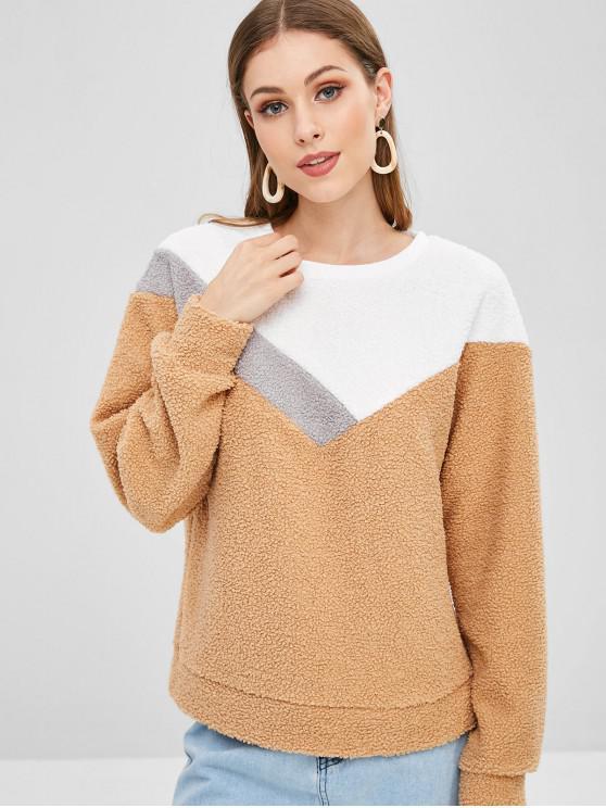 outfits Casual Color Block Teddy Sweatshirt - KHAKI M