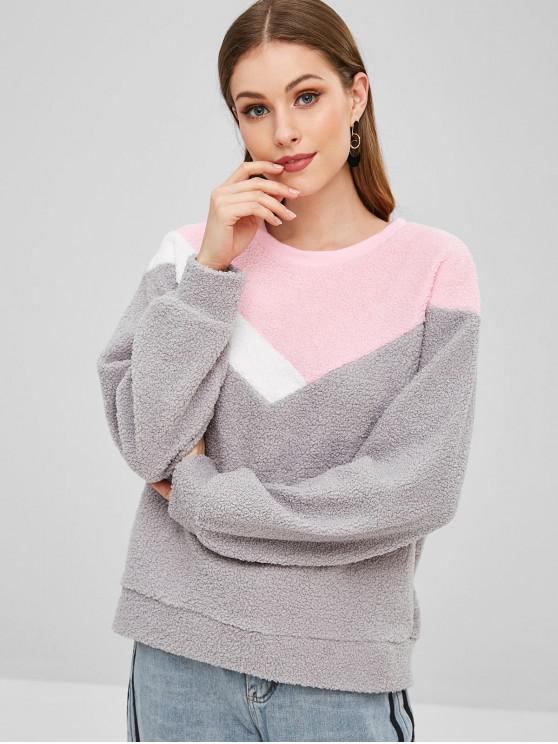 latest Casual Color Block Teddy Sweatshirt - GRAY M