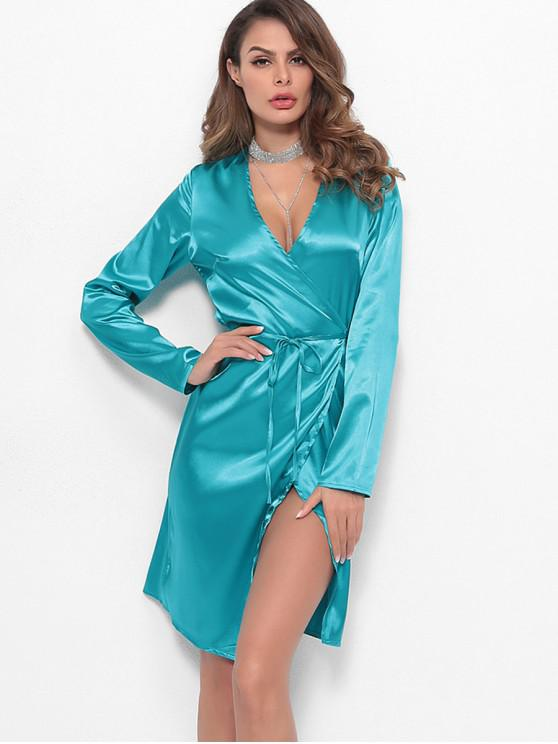 buy Long Sleeves Satin Wrap Dress - TURQUOISE S