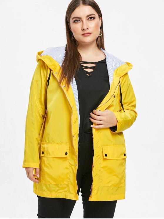 ladies Hooded Plus Size Pocket Windbreaker Jacket - YELLOW 3X