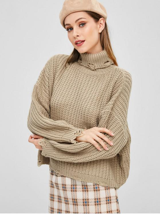 trendy Ripped Turtleneck Chunky Sweater - TAN ONE SIZE