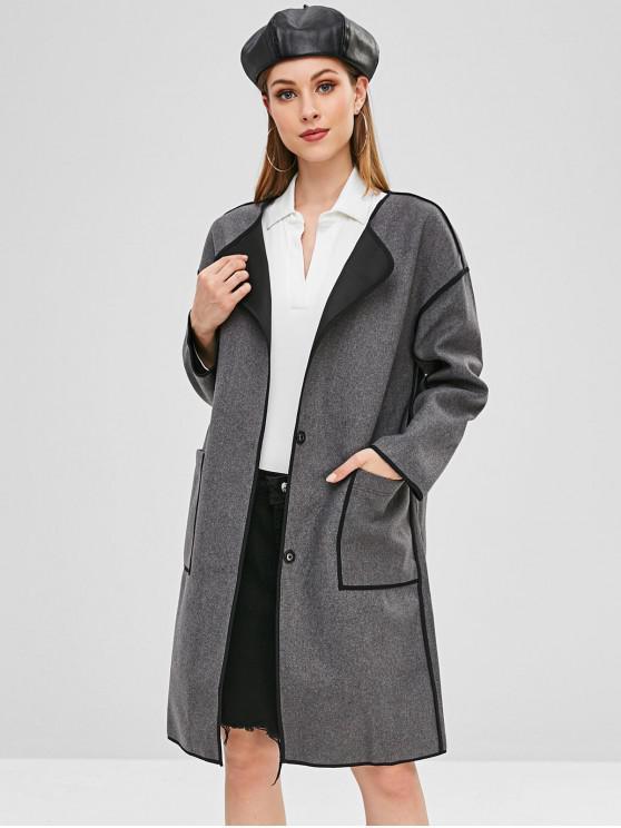 ladies Wool Blend Pocket Longline Coat - GRAY XL