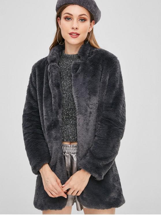 Abrigo de peluche de frente abierto - Gris Pizarra Oscuro M