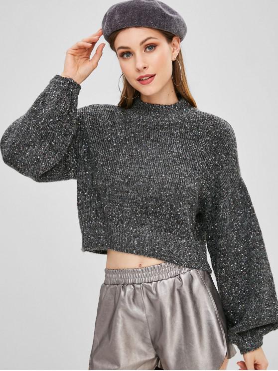 womens Lantern Sleeve Sequined Mock Neck Sweater - GRAY S