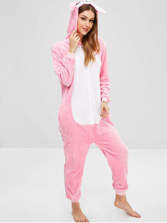 outfit Rabbit Fluffy Onesie Pajama - PINK M
