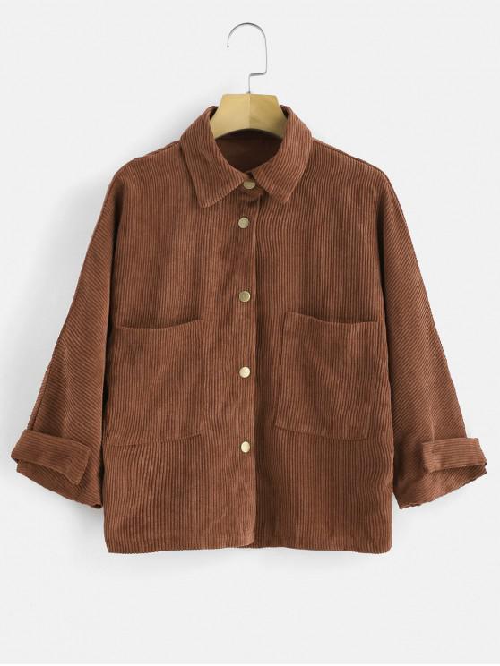 Bolsillos delanteros chaqueta de pana - Marrón Claro S