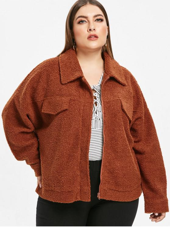 outfits Zip Plus Size Fluffy Teddy Coat - BROWN 1X