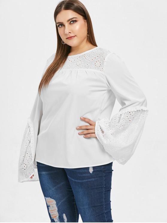 affordable Flare Sleeve Plus Size Eyelet Blouse - WHITE 1X