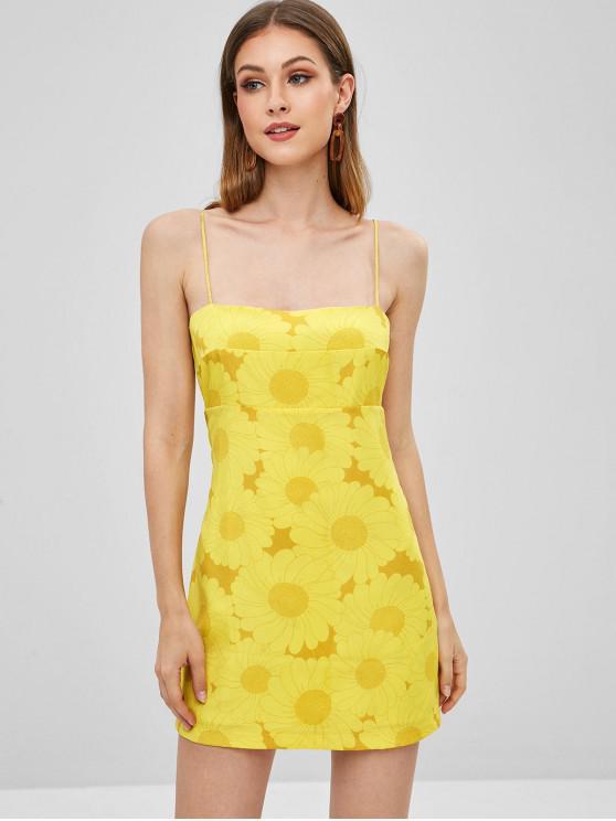 women's Floral Print Mini Cami Dress - YELLOW S