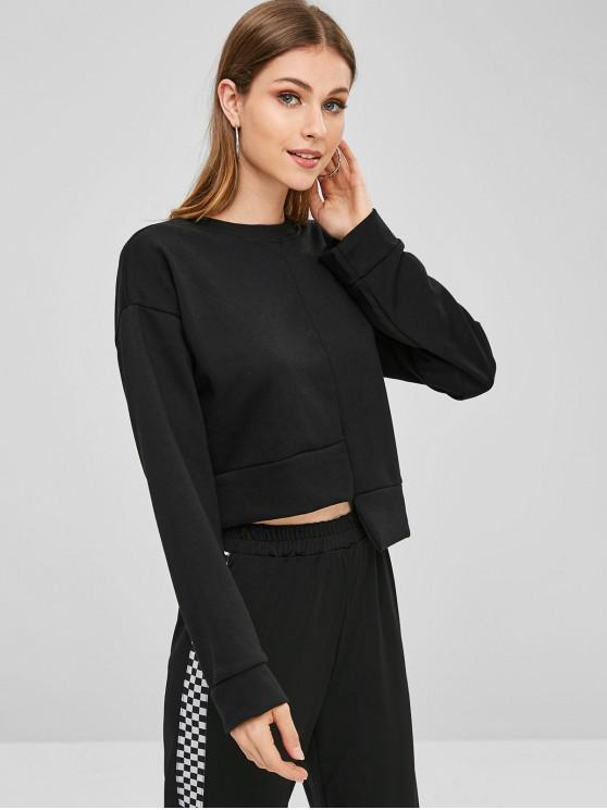 womens Drop Shoulder Asymmetric Sweatshirt - BLACK ONE SIZE