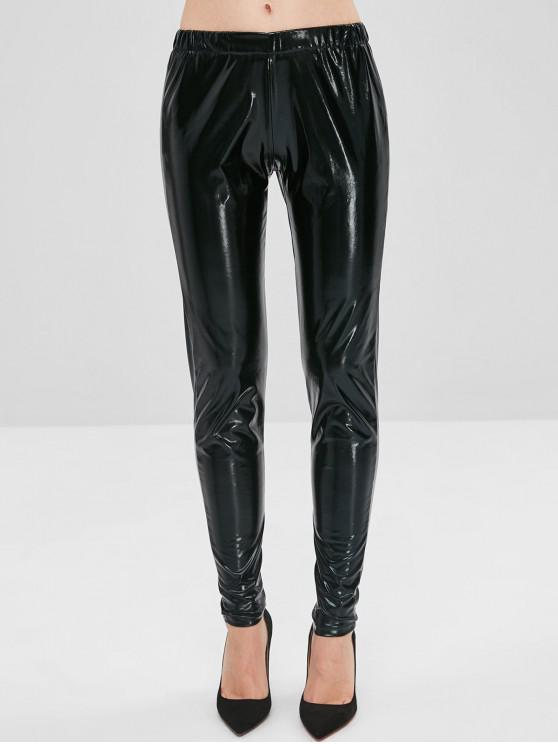 best Glossy Patent Leather Pants - BLACK S