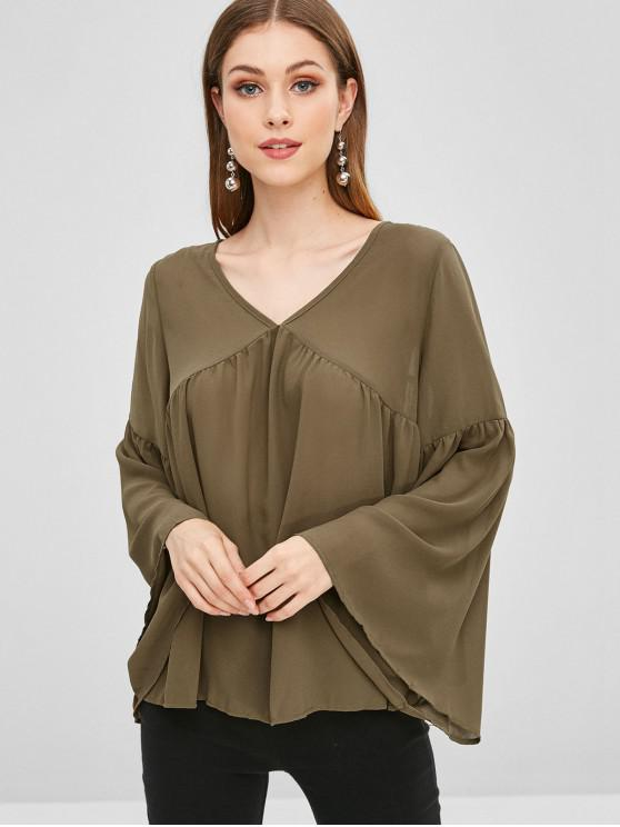 trendy Bell Sleeve Chiffon Blouse - FALL LEAF BROWN M
