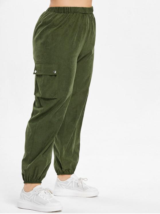 shop Side Pockets Plus Size Pants - ARMY GREEN 2X