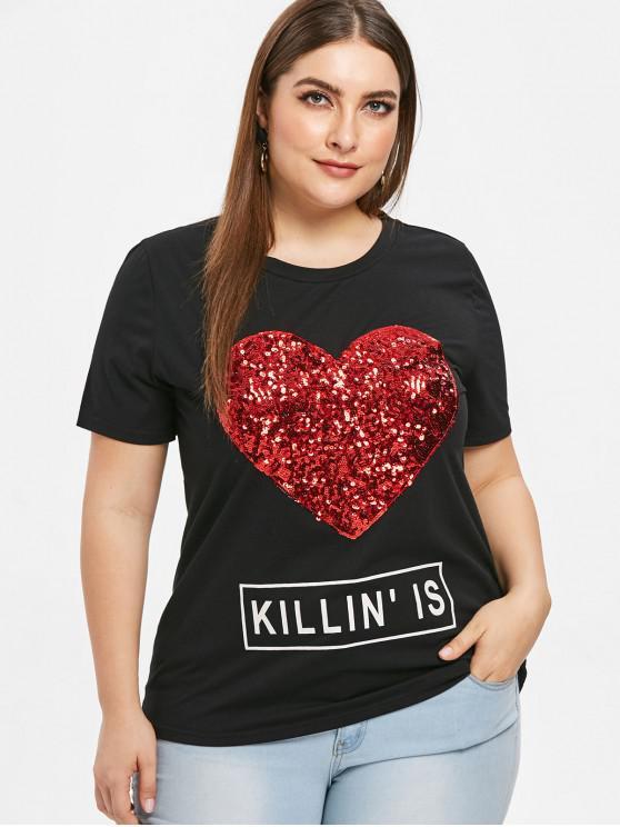 trendy Sequin Heart Graphic Plus Size T-shirt - BLACK 2X