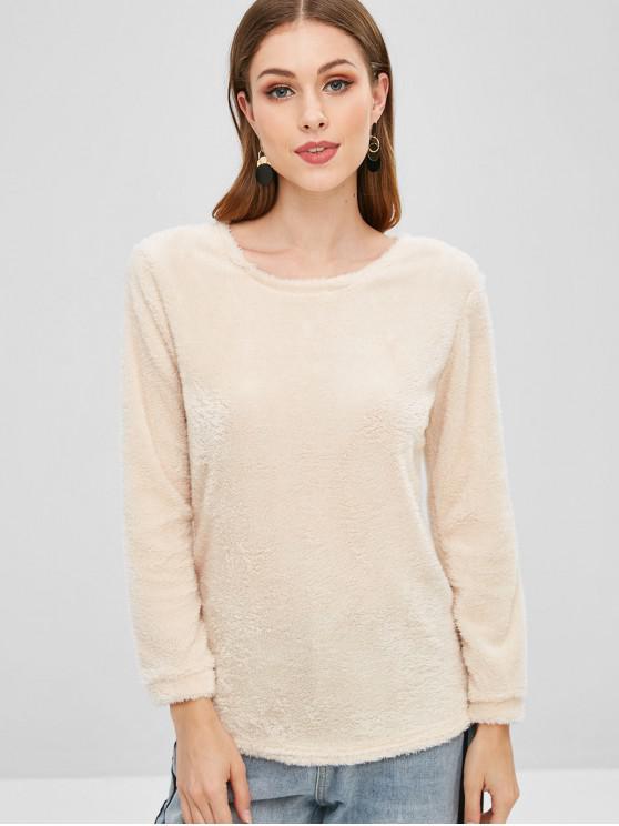 latest Plain Faux Fur High Low Sweatshirt - LEMON CHIFFON XL