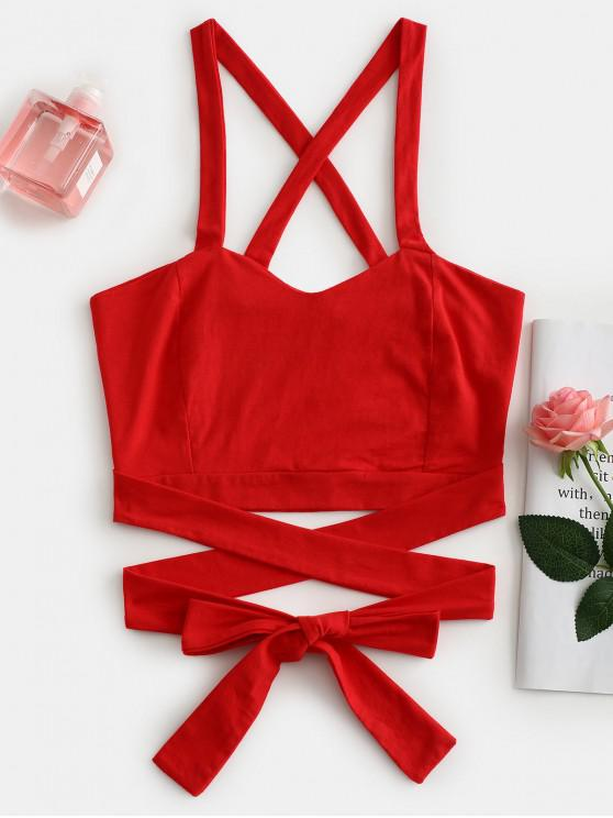women Crisscross Tie Crop Top - RED S