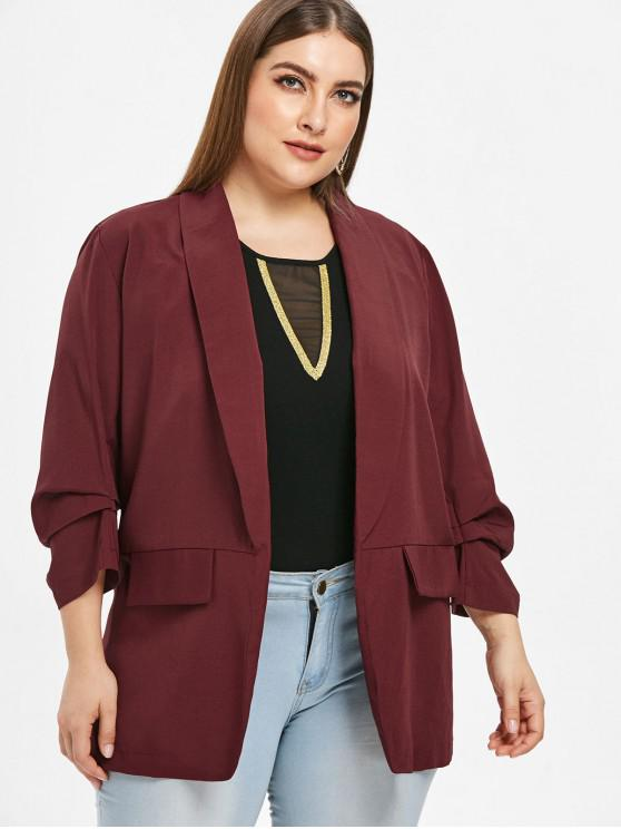 outfit Pleated-detail Plus Size Shawl Collar Blazer - RED WINE 1X