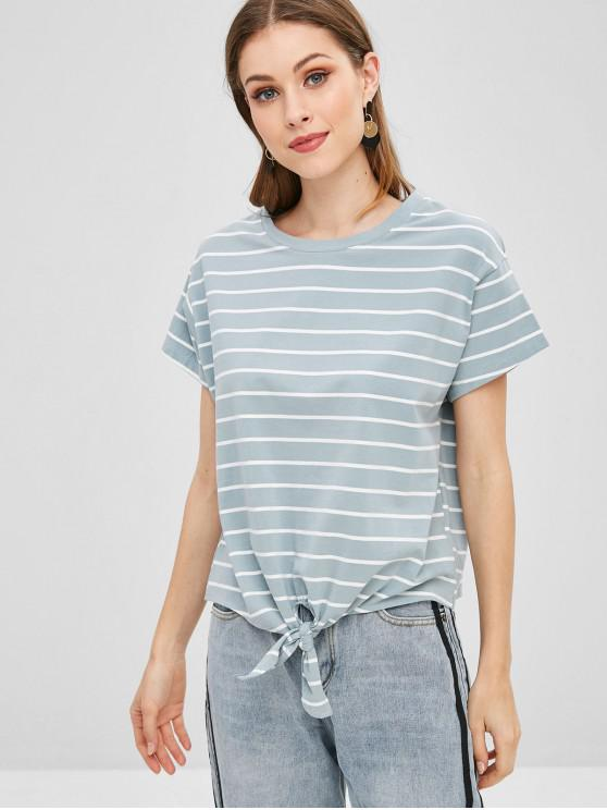 women Striped Knot Front Tee - BLUE GRAY M