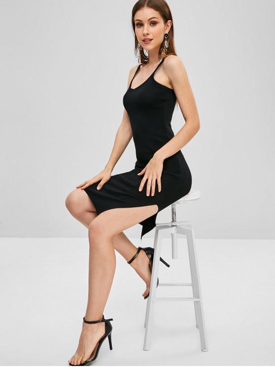 Vestido de la raja sin mangas liso - Negro Talla única