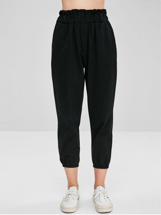 hot Plain High Waist Jogger Pants - BLACK L