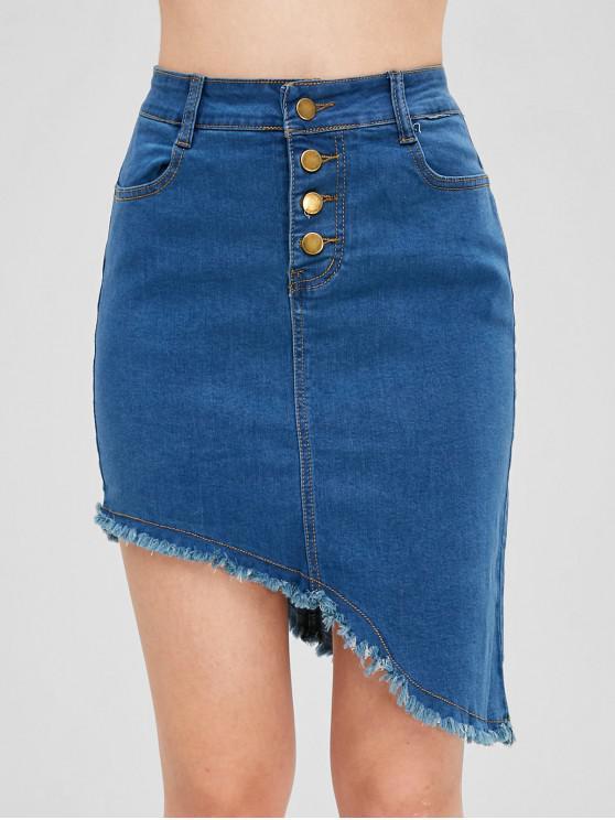 Falda de mezclilla asimétrica de dobladillo deshilachado - Azul Denim XL