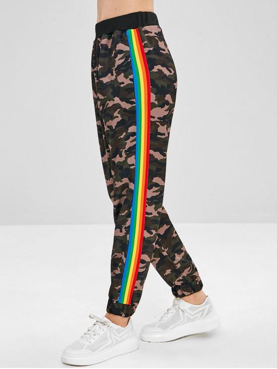 women's Rainbow Striped Camouflage Jogger Pants - ACU CAMOUFLAGE L