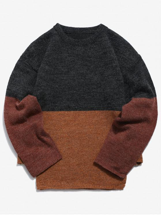 outfit Casual Panel Knit Sweater - DARK GRAY XL